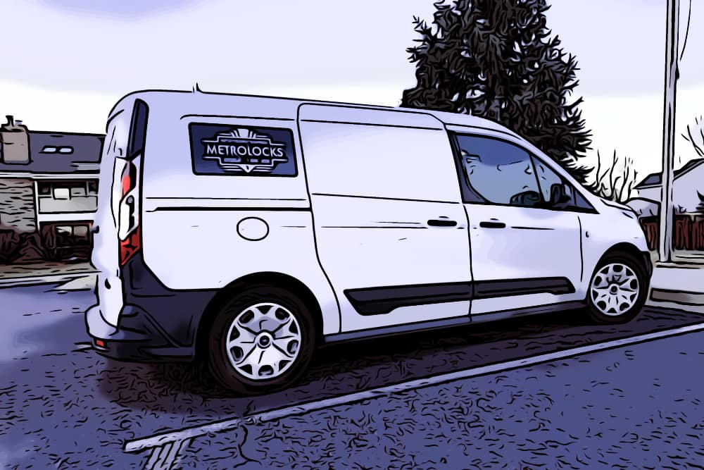 A parked locksmith van