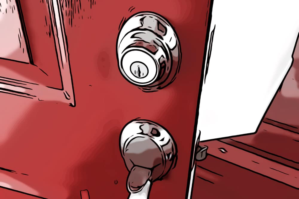 Residential locks on a red door